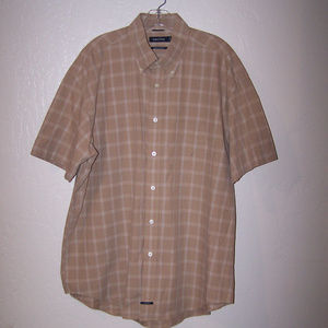 NAUTICA BROWN PLAID CASUAL DRESS SHIRT S3366